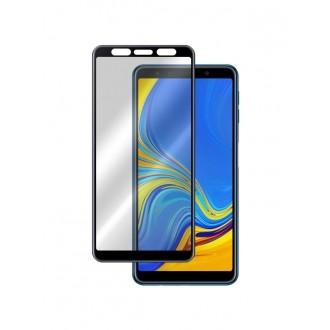 Juodas 5D aukščiausios kokybės apsauginis grūdintas stiklas Samsung Galaxy A750 A7 2018 telefonui