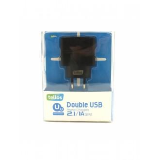 Juodas įkroviklis Tellos buitinis su USB jungtimi (dual) (1A+2.1A)