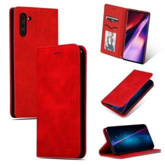 """Raudonas atverčiamas dėklas """"Business Style"""" telefonui Huawei P Smart 2021"""