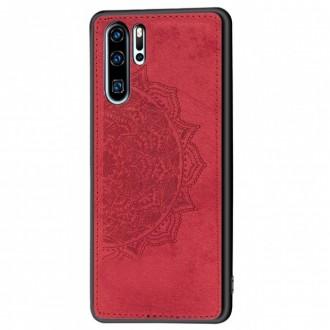 Raudonas silikoninis dėklas ''Mandala'' su medžiaginiu atvaizdu Samsung S21 Plus
