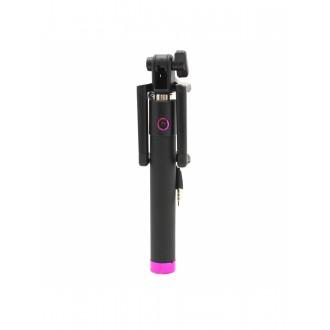 """Rožinės spalvos teleskopinis fotografavimosi laikiklis telefonui """"Black line"""" (laidinis monopodas)"""