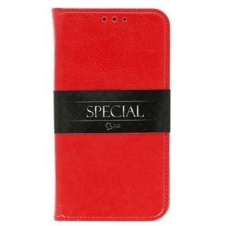 Raudonas dirbtinės odos atverčiamas dėklas ''Special'' telefonui Samsung J400 J4 (2018)