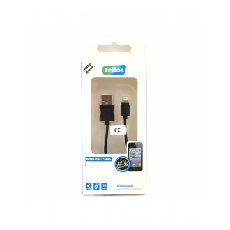 "USB kabelis ""Tellos"" Professional Apple ""Lightning"" juodas, 1.0m"