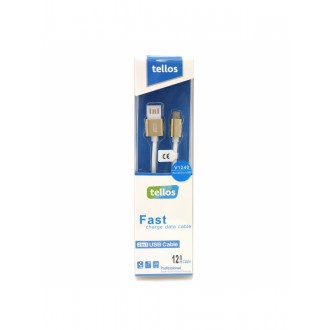 """USB kabelis """"Tellos"""" Silikoninis """"microUSB"""" auksinis, 1.2m"""